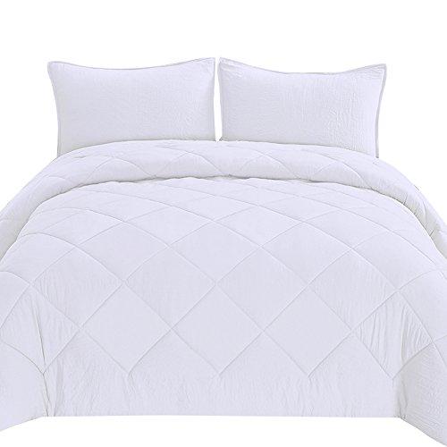 HONEYMOON HOME FASHIONS Queen Full Size Comforter Set, Microfiber Down Alternative Diamond Stitch, 3-Piece Luxury, White