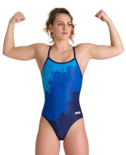 Arena Damen Sport Spraypaint Badeanzug, navy, 36