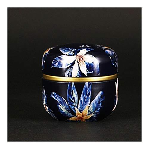 GWM Ataúd Mascota, Mascota urna Conmemorativa, Gatos Perros Aves urna de Hierro Oscuro Azul del Estampado de Flores del ataúd for la pequeña Mascota Cenizas Titular de la cremación