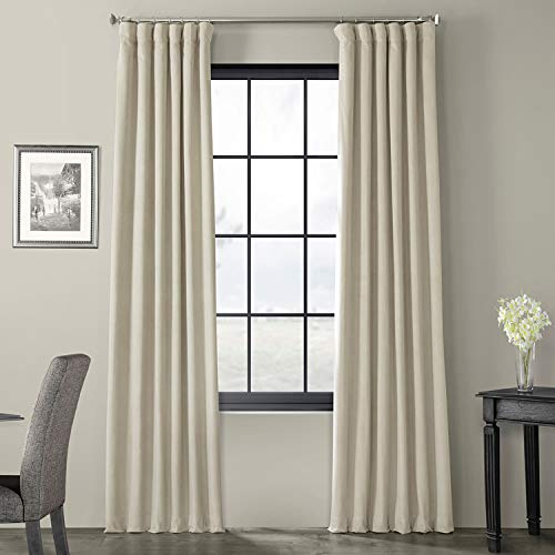 HPD HALF PRICE DRAPES VPCH-160405-96 Signature Blackout Velvet Curtain, 50 X 96, Cool Beige