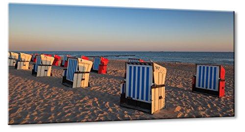 Fine-Art-Manufaktur Ostsee Strand Warnemünde Strandkorb Urlaub Sonnenaufgang Meer Sonn | Aus der Serie: Die Ostsee | Farbe: blau | Rubrik: Meer-und-Strand + landschaften