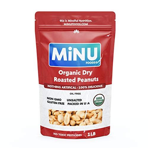 MiNU Organic Dry Roasted Valencia Peanuts Unsalted 16 oz (1...