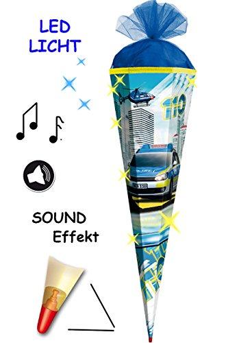 alles-meine.de GmbH mit Sound Modul & LED Licht Effekt ! - Schultüte -  Polizei Fahrzeug & Helikopter 110