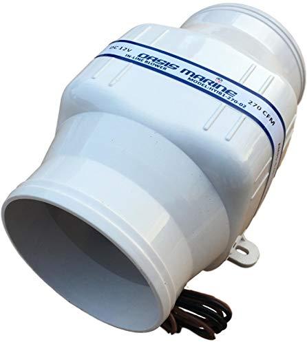 OASIS MARINE in-Line Bilge Boat Air Blower 4 inch 12V Exhaust Fan (2 Year Warranty)