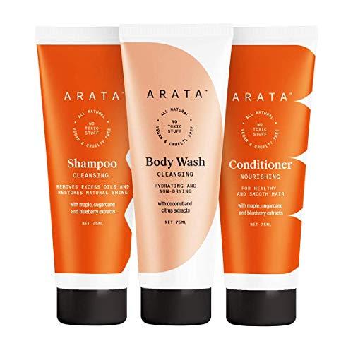 Glamorous Hub Arata Juego de poder de ducha con control de aceite natural para mujeres y hombres con champú limpiador (75 ml), gel de baño (75 ml) y acondicionador para el cabello (75 ml) totalmente