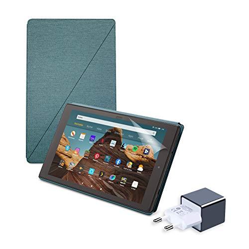 Fire HD 10 Essential B&le mit Fire HD 10-Tablet (32 GB, Dunkelblau, mit Werbung) + Amazon-Hülle mit Standfunktion (Dunkelblau) + NuPro-Bildschirmschutzfolie (2er-Pack) + 15-W-USB-C-Ladegerät
