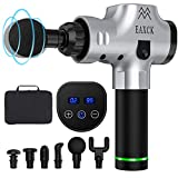 Massage Gun Deep Tissue, EAXCK Percussion Muscle Massager Gun for Athletes Sport Acid Relief, Body Massager for Pain Soreness Portable LED Display Super Quiet Brushless Motor