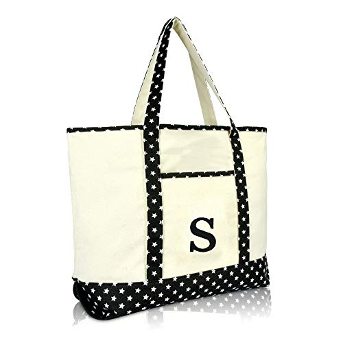 DALIX Initial Tote Bag Personalized Monogram Black Star Zippered Top Letter - S