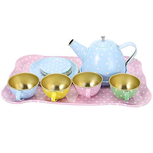 TOYANDONA 15pcs Teeservice Set Kinder Kaffeeservice Kinderküche Rollenspiele Geschirr Kaufladen Zubehör Toy Lebensmittel Täuschen Spielen Lustige Spielzeug für Kinder Mädchen