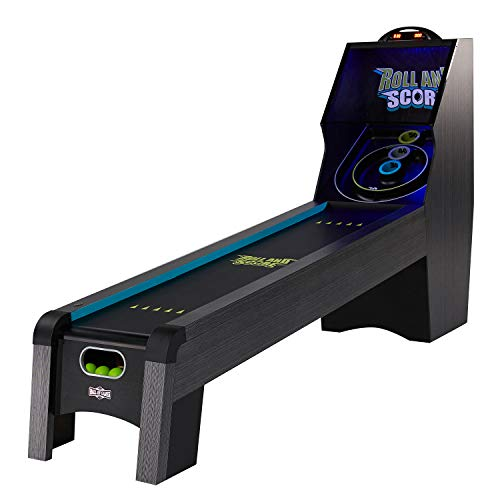 Hall of Games AC208Y19014 9ft Roll and Score with LED Lights and Electronic Scorer, Black/Blue