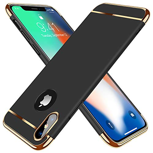 TORRAS Lock Series for iPhone X Case/for iPhone Xs Case 3-in-1 Luxury Anti-Scratch Hard Cover with Electroplated Frame Phone for iPhone Xs/X, Black
