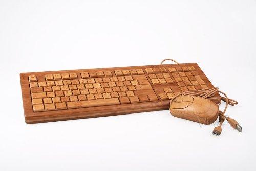 Bambootech USB Tastatur + Maus im Set aus Bambus - Vollholz