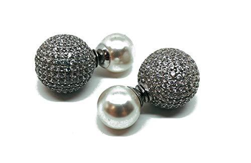 Pendientes de plata 925 con doble esfera con pavé de circonitas (AMFO0059)
