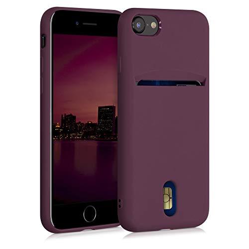 kwmobile Funda Compatible con Apple iPhone 7/8 / SE (2020) - Carcasa de Silicona con Tarjetero y Acabado de Goma - Rojo Vino