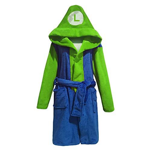 YSHANT Mario Luigi Cosplay Kostüm Kinder Erwachsene Unisex Bademantel Plüsch Bademantel Nachtwäsche Muster Pyjama
