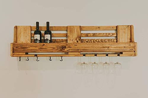 Weinregal Palettefür 8 Weingläser Palettenmöbel Glashalter Küchenregal Wandregal Weinflaschenregal Flaschenregal
