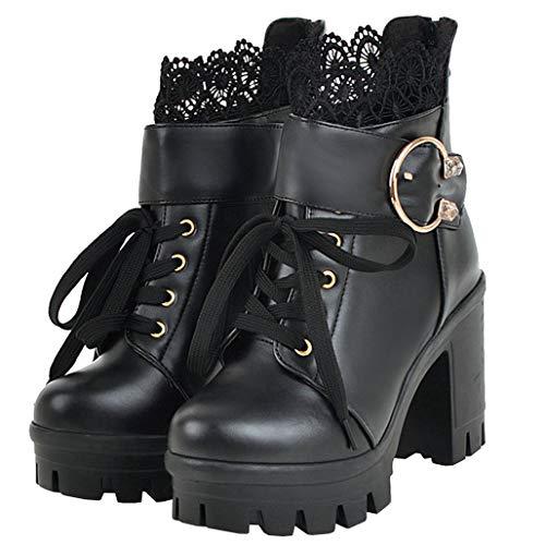 COCOLULU Damen High Heels Stiefeletten Schnüren mit Blockabsatz Plateau Lolita Ankle Boots Schnürstiefeletten und Reißverschluss(EU Size 38, schwarz)