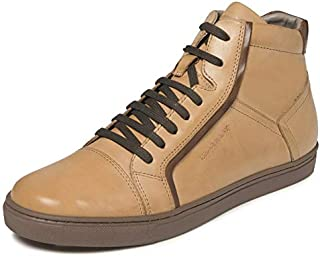 TONI ROSSI Men's Byrant Beige Leather Casual Sneakers