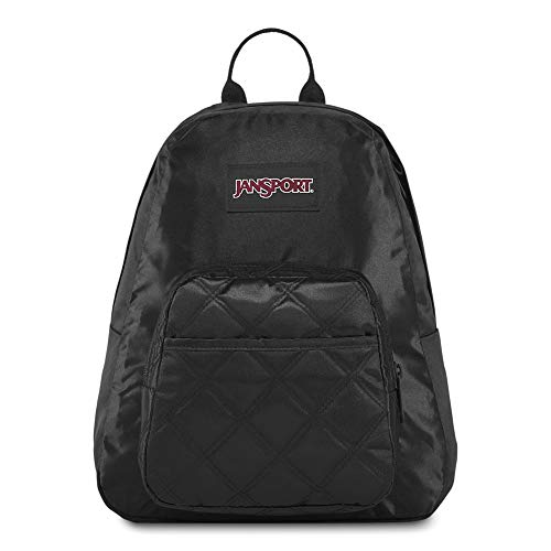 JanSport Half Pint FX Mini Backpack - Ideal Day Bag for Travel & Sightseeing   Black Satin Diamond Quilting
