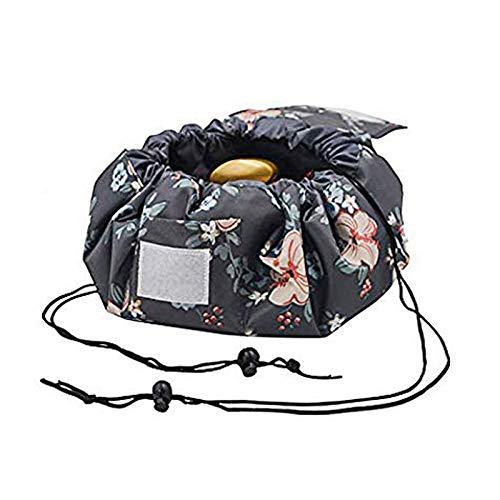 Fumxin Make-up-Tasche, tragbar, große Reise-Kulturtasche mit Kordelzug, für Frauen, Mädchen Graue Blume Large