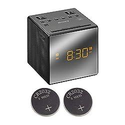 Sony ICFC1T Alarm Clock Radio (Black) with 2X CR2032 Batteries Bundle (3 Items)