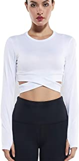 Campeak Women's Yoga Gym Crop Top Compression Workout Athletic Short Sleeve Shirt