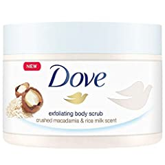 Dove Macadamia and Rice Milk Exfoliating Body Scrub helps removes dull dry skin This exfoliating scrub polishes and nourishes to restore skins natural nutrients Formulated with ¼ moisturizing cream this exfoliating scrub leaves your skin feeling heal...