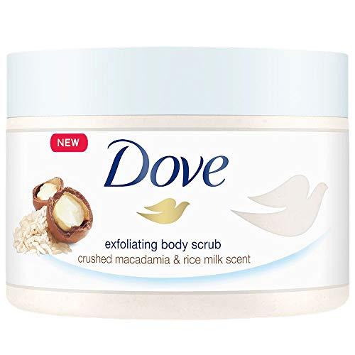 Dove Exfoliating Body Polish Scrub Reveals Visibly Smoother Skin Macadamia and Rice Milk Body Scrub That Nourishes Skin 10.5 oz