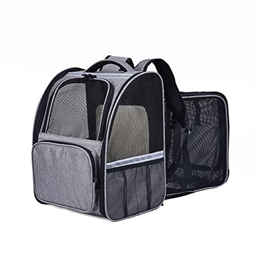 XKISS Hunderucksack Katzenrucksack für Hunde,Katzentransportbox Hundetragetasche erweiterbare Flugtasche Oxford Gewebe mit Schultergurt für Katze und Hund