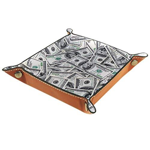 Bandeja de Cuero - Organizador - Fondo de billetes de 100 dólares. - Práctica Caja de Almacenamiento para Carteras,Relojes,llaves,Monedas,Teléfonos Celulares y Equipos de Oficina