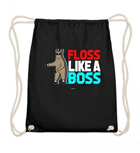 EBENBLATT Hochwertige Baumwoll Gymsac - Llama Flossing - Floss like a Boss Zahnseide Tanz Floss Dance Trend Tanz lustiges Geschenk
