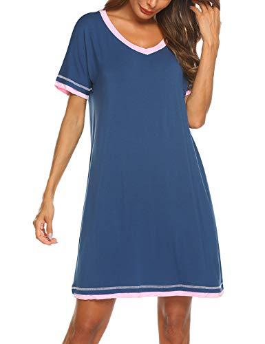 Ekouaer Nachthemd Damen Kurzarm Schlafshirt V-Neck Sleepshirt Kurze Nachtwäsche Sexy, blau,XXL