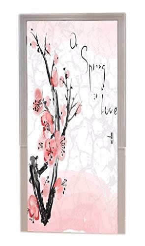 A.Monamour Pegatinas De Pared Asia Japonés Primavera Cerezo Sakura Flor Pintura De Acuarela Imagen Vinilo De La Puerta Calcomanías Papel Tapiz Murales De Pared Adhesivos De La Puerta