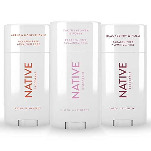 Native Deodorant - Natural Deodorant For Women and Men - 3 Pack - Aluminum Free, Free of Parabens and Sulfates - Vegan, Contains Probiotics - Blackberry & Plum, Cactus Flower & Poppy, Apple & Honeysuckle