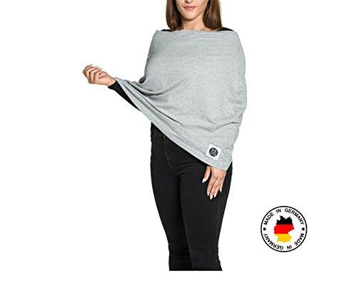 Yumakids 4 in 1 Stilltuch/Stillschal, Einkaufswagenschutz, Babyschalencover, ideal für Unterwegs,inkl. Aufbewahrungsbeutel (grau) - OEKO-TEX® zertifiziert