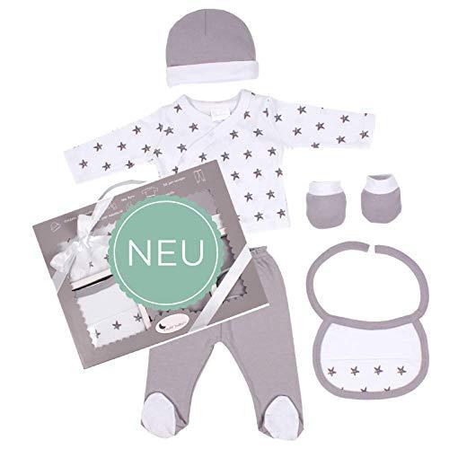 DIKOS Baby Erstausstattung für Neugeborene Mädchen/Junge Set 100% Baumwolle Sterne Größe 50/56 0-3 Monate Erstlings-Ausstattung Kleidung Baby-Geschenke Geburt Babykleidung (grau)
