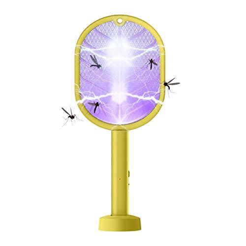 Honeyhouse Elektrisk flugsmällare, USB-uppladdningsbar LED-lampa med 3-lager 2 i 1 mygginsekter zapper fladdermus säkerhetsnät för inomhusresor campinger och utomhustillfällen (gul)