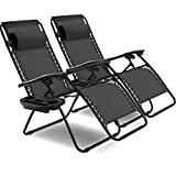 Goplus 2PC Zero Gravity Chairs Lounge Patio Folding Recliner Outdoor Yard Beach...