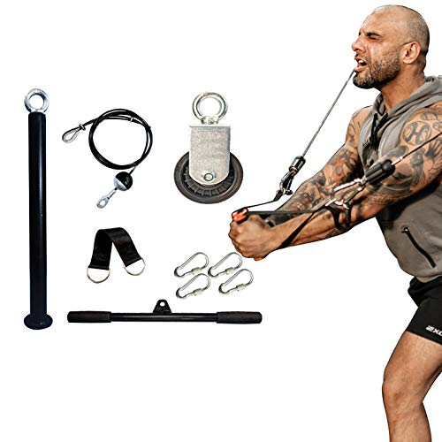 BAG WIZARD Fitness LAT and Lift Pulley System, Cable Machine with Upgraded Loading Pin for Triceps Pull Down, Biceps Curl, Back, Forearm, Shoulder-Home Gym Equipment (tricep Rope) (Straight Bar)