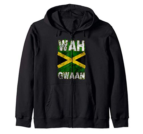 Jamaika-Hemd Wah Gwaan Rasta Cool Distressed Jamaican Flag Kapuzenjacke