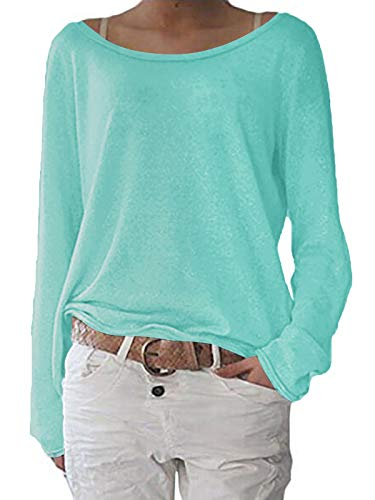 ZANZEA Damen Langarm Lose Bluse Hemd Shirt Oversize Sweatshirt Oberteil Tops Minzgrün Small