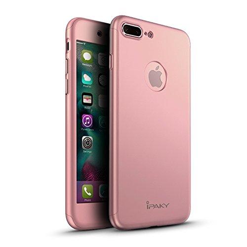 Custodia iPaky Originale per iPhone 7 Plus (5,5') e iPhone 8 Plus (5,5') Protezione 360º Gradi + Pellicola Vetro Temperato [ ORO ROSA ] Massima Qualità