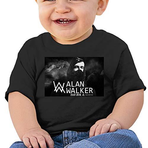 Baby Alan-Walker Basic T-shirt met korte mouwen, SOFE, Katoen, Gedenkteken Zwart
