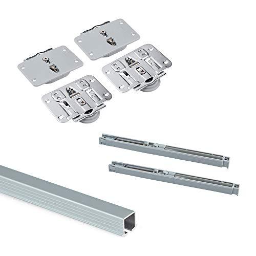 Emuca - Sistema para 2 puertas correderas de madera apoyadas, cierre suave, tableros no incluidos, Acero y aluminio, anodizado