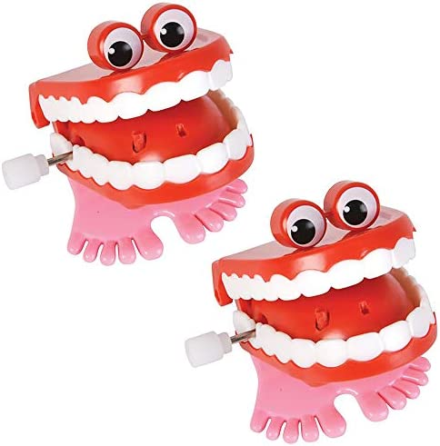 The Dreidel Company Wind Up Teeth Chomping Chattering Teeth with Googly Eyes Toys for Kids Birthday product image