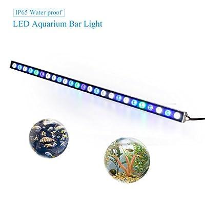Roleadro Éclairage d'aquarium à LED 36x 3W Total 108W Pour aquarium d'eau de mer, plantes, coraux et poissons, réservoir à poissons avec câble d'alimentation Bleu/blanc Dimension 115cm Lampe UV