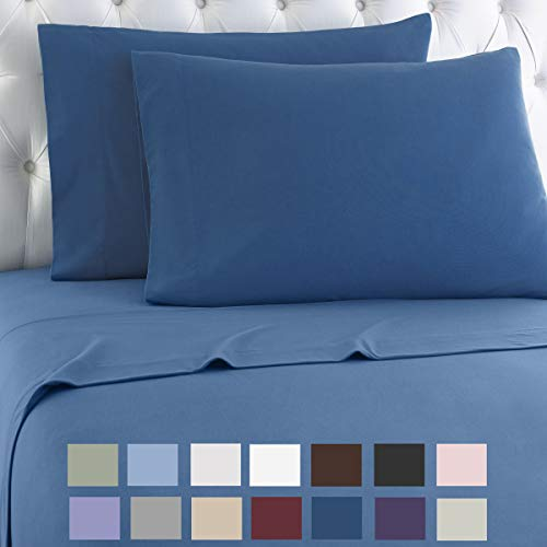 Thermee Micro Flannel Shavel Home Products Sheet Set, King, Country Blue