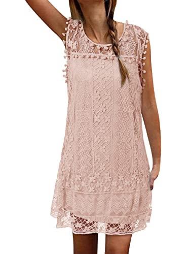 ZANZEA Sommerkleid Damen Elegant Spitzen Minikleid Kurz Ärmellos Lace Strandkleider Brautkleid Party Club Rosa-425572 EU 46