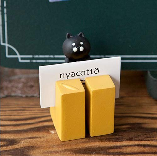 WQNM Titular de la Tarjeta de Visita de Resina de Gato Negro Creativo Moderno Simple Memo Note Holder Home Crafts Desk Desk Desk Desk Decoration