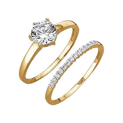 Jacques Lemans Damen Ring-Set 375/- Gelbgold Zirkonia weiß 375/- Gold Glänzend Zirkonia gelb 490370022